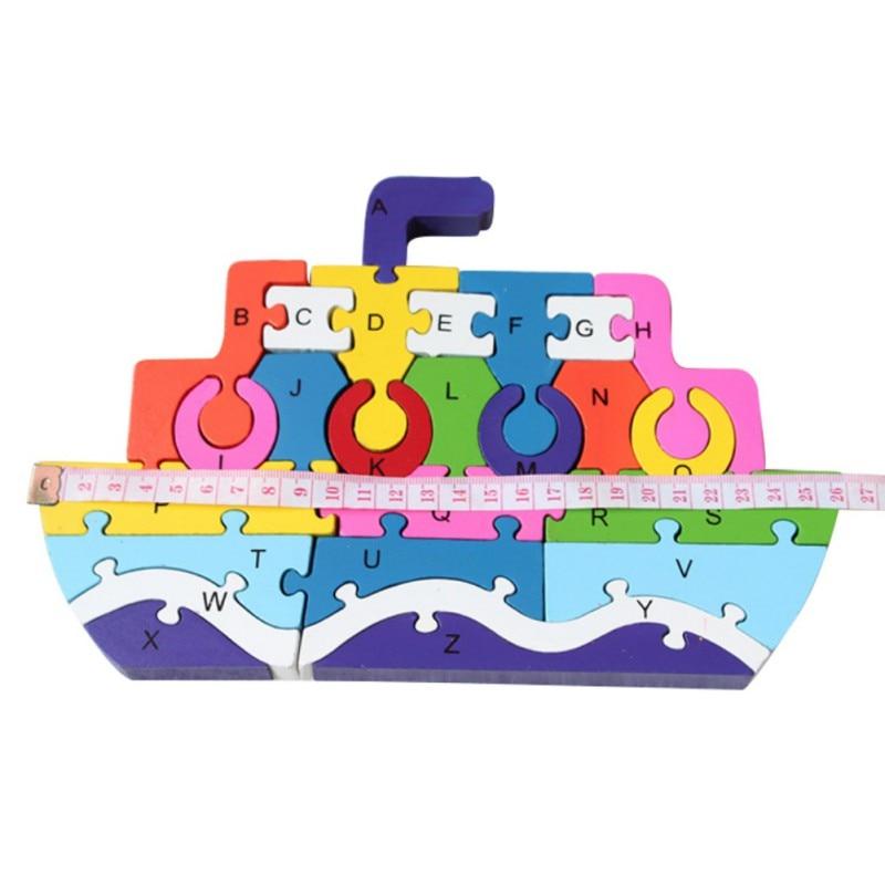 26 шт. 26 букв головоломки для детей буквенно-цифровой распознавания Животные Дерево корабль Пазлы Дети Развивающие игрушки Новый