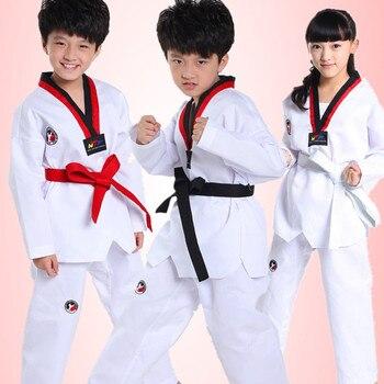 Traje de Taekwondo pantalones blancos de manga larga ropa de Kimono de Judo para niños trajes de actuación de competición de Karate