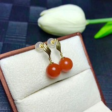 shilovem 18K ROSE Gold Natural south Red agate stud earrings fine Jewelry cute wedding gift new plant myme0909099nh