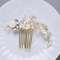 Popular Gold Color Crystal Wedding Bridal Comb Small White Flower Girl Haiwear Simulated Pearl Crystal Women