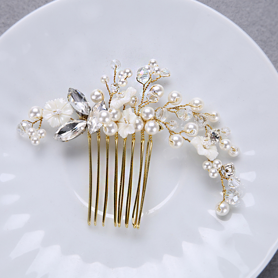 TUANMING Popular Gold Hair Jewelry Crystal Wedding Bridal Hair Comb Flower Girl Hairwear Simulated Pearl Women Hair Accessories close-up