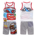 Retail high quality 2016 newest children/kids summer clothing set with a vest and a shorts set  Boys Car machine Clothing Set