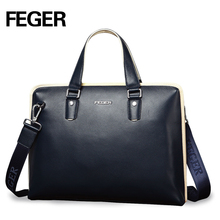 FEGER genuine leather handbag big volume business briefcase mens fashion daily carry tote shoulder bag