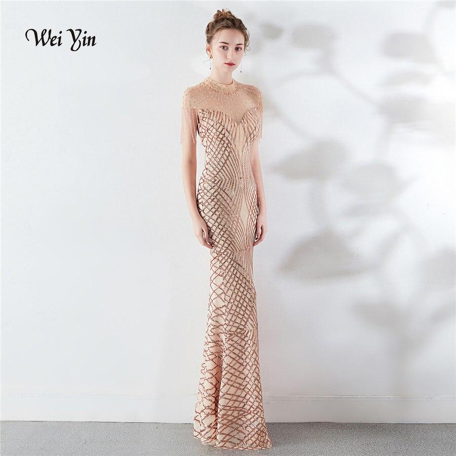 Wei yin 2019 luxe Champagne cristal sirène dentelle robe de soirée haut Nick Cap manches élégantes robes de soirée Photo réelle WY1649
