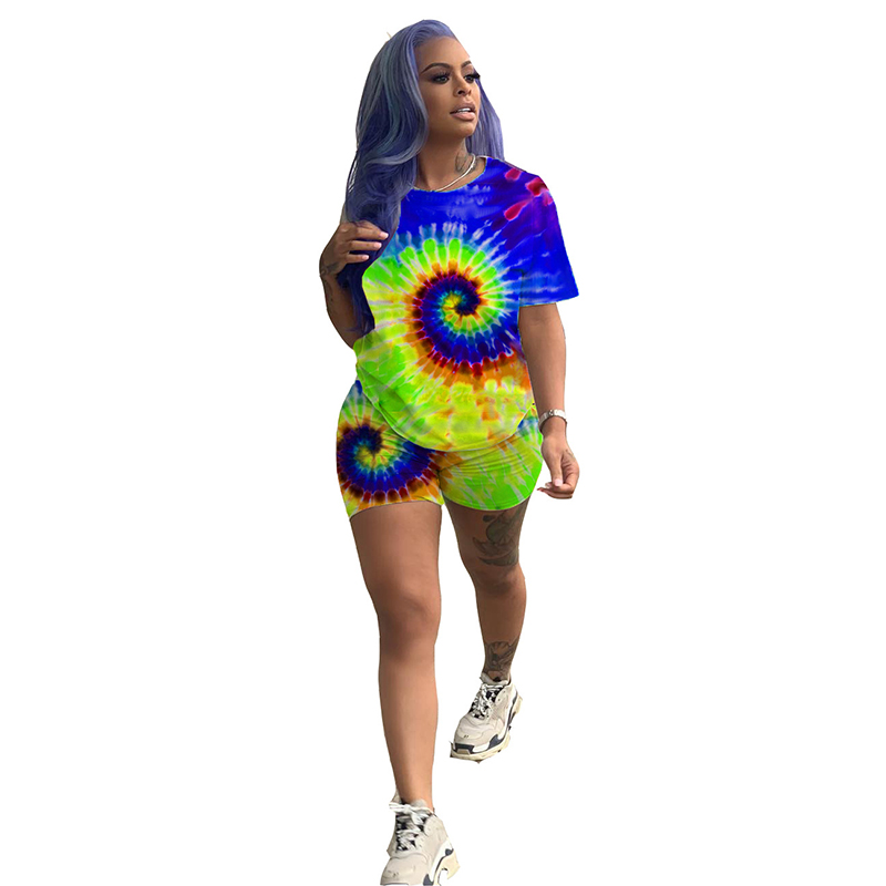 Casual 2 Piece Matching Sets Women Clothes 2019 Tie Dyeing Print T-Shirts And Biker Shorts Sweat Suits Sexy Two Piece Tracksuits
