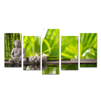 5 Panels Paintings For Living Room Home Decor Modern Canvas Wall Art Buddha Green Bamboo Stones