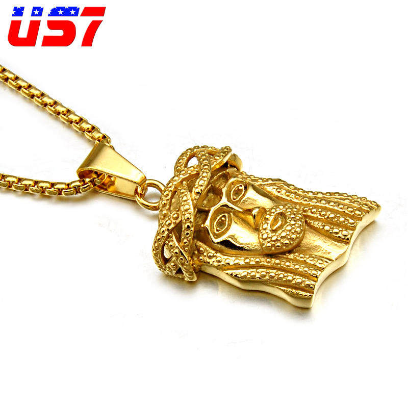US7 HIP Hop Gold Color JESUS Piece Head Face Pendants Necklaces Titanium Stainless Steel Chain Collier for Men Christian Jewelry ...