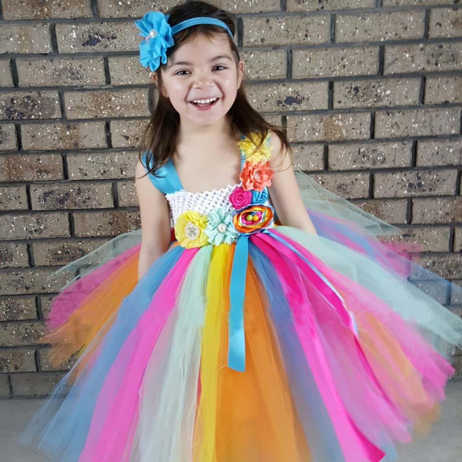 Candy heldere kleur meisjes Tutu jurk met hoofdband lente zomer korte - Kinderkleding