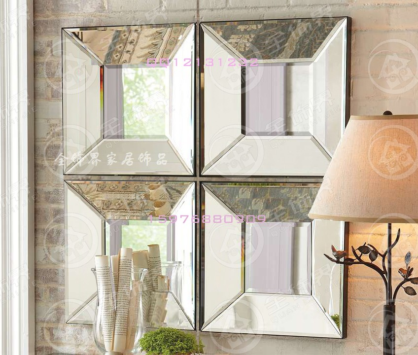 Modern mirrored wall decor bevel square creative mirror framed wall ...