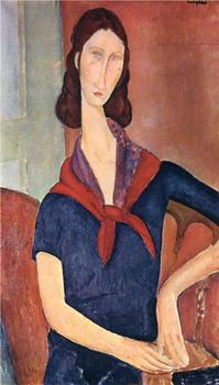 Jeanne Hebuterne (with a scarf) Amedeo Modigliani oil painting for sale online High quality Portrait painting woman Hand painted image