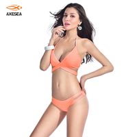 Axesea 2017 Sexy Bikini Vendaje Empuja Hacia arriba traje de Baño Naranja Triángulo traje de Baño Traje de Baño Mujeres Ropa de Playa para famale Bikini Set
