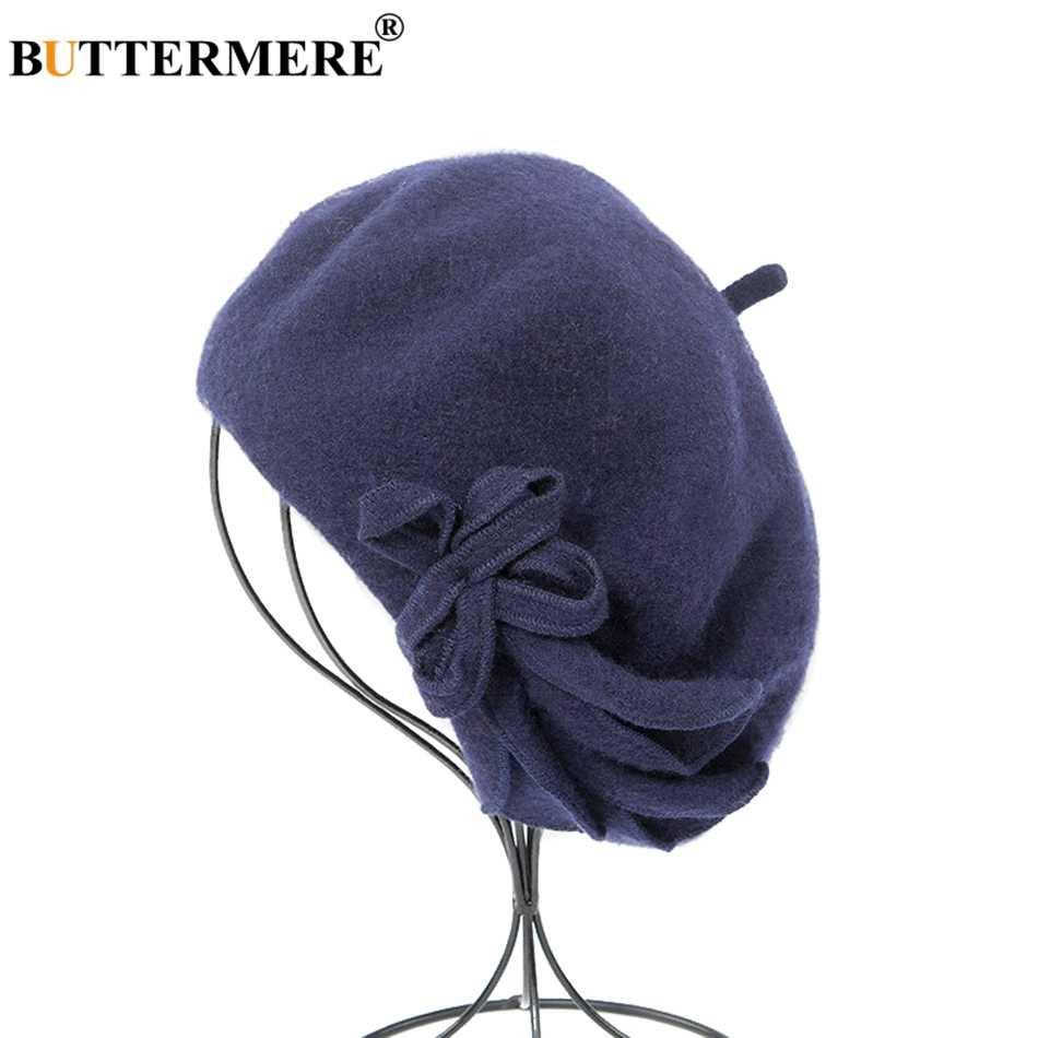BUTTERMERE шерстяной Французский Берет для женщин зеленые элегантные шапки для зимы Женские однотонные с бантом повседневные женские осенне-зимние Кепка художника
