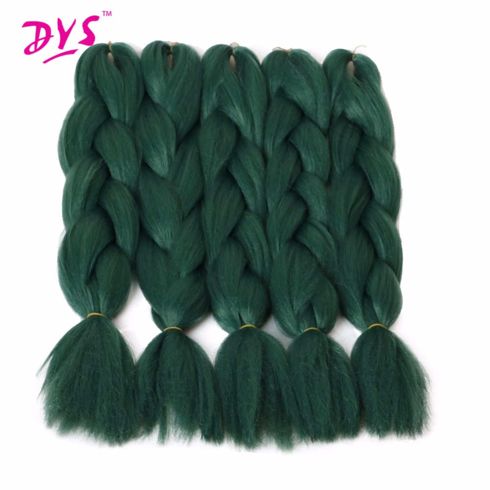 Deyngs Natural Synthetic Braiding Hair 24inch Pure Green Colored Crochet Braids Hair Extension Jumbo Braids Bulk Hair Braiding ...