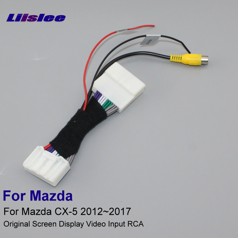 Liislee Pour Mazda CX-5 CX5 CX 5 2012 ~ 2017 28 Broches RCA adaptateur Connecteur Fil Câble Arrière Vue Caméra D'origine Vidéo D'entrée commutateur