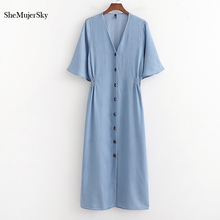 SheMujerSky Blue Denim Midi Dress Summer Women Short Sleeve Dresses With Buttons vestido mujer