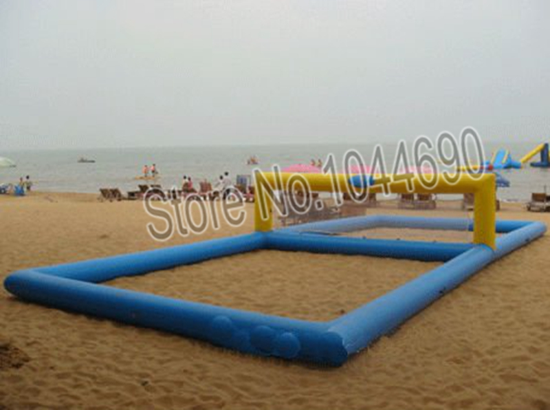 12*6m inflatable volleyball court for beach water game water equipment 10 5 1 2m volleyball sport court commercial used inflatable water volleyball field for sale