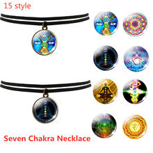 Black Clavicle Necklace Yoga Mandala Flower Lucky Charm Necklace Seven Chakra Glass Cabochon Reiki Healing Spiritual Pendant(China)
