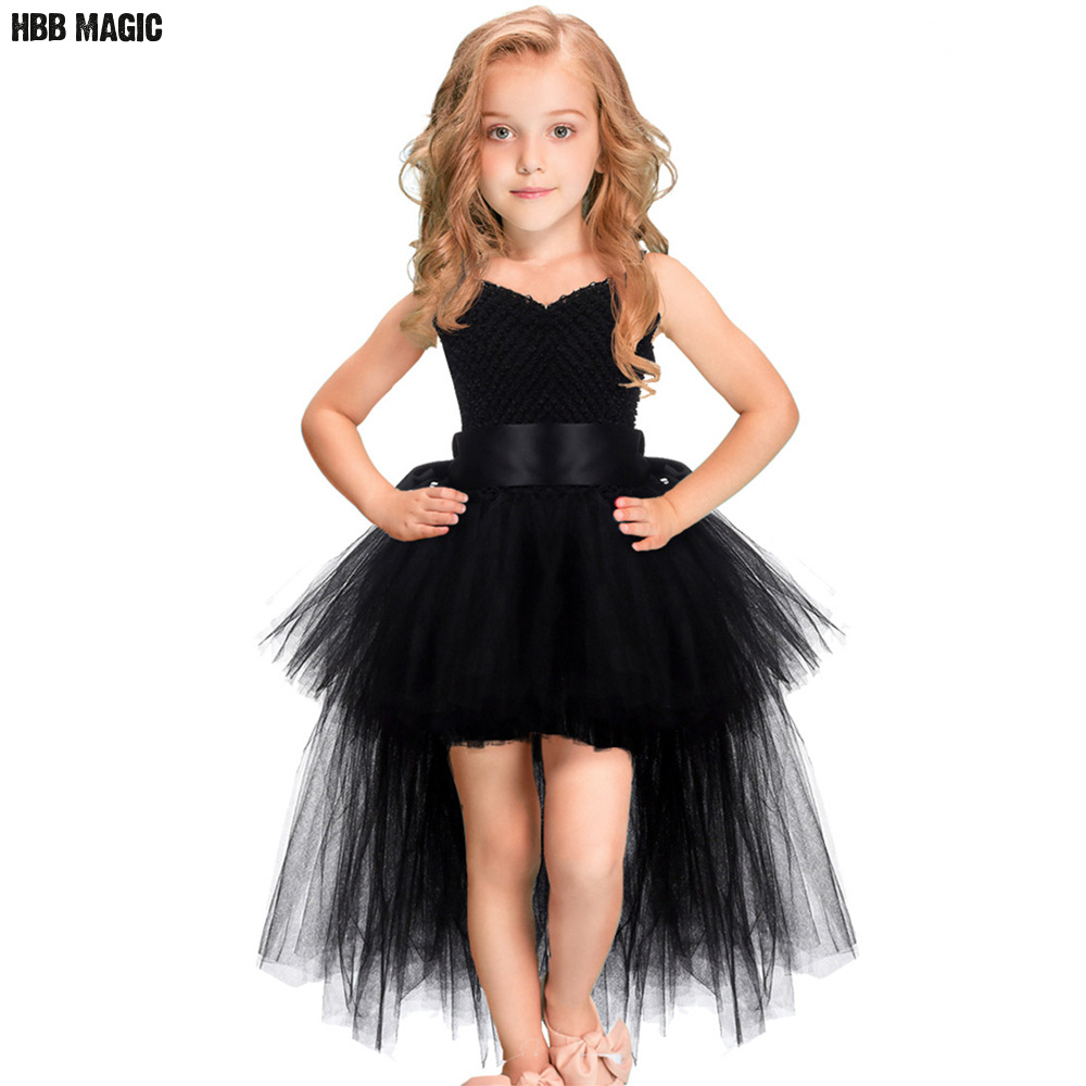 Black Girls Tutu Dress Tulle V-neck Train Girl Evening Birthday Party Dresses Kids Girl Ball Gown Dress Halloween Costume 2-8Y halloween rhinestone green eye black cat white top girl purple black skirt 1 8y mamg1178