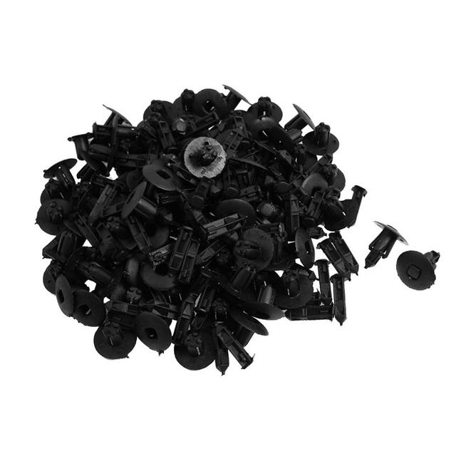 ZYHW Marca New 100 pcs car clipes 8mm empurre tipo clips carro de plástico Preto rebites