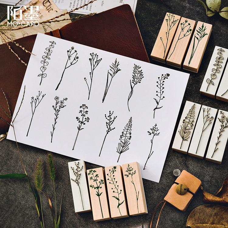 Vintage Leaves Forest Wooden Rubber Stamp Set For Diy Picture Making Cards Scrapbooking Crafts