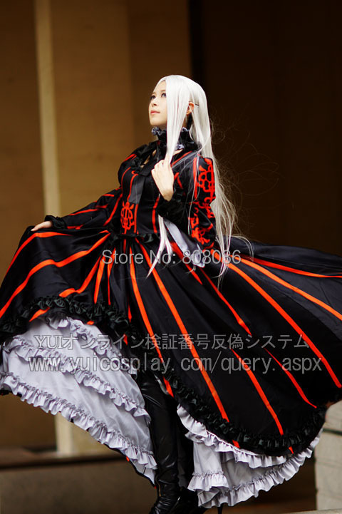 halloween fate zero cosplay irisviel von einzbern black red super luxury banquet landing party dress double skirt with leg sets - Partyland Halloween Costumes