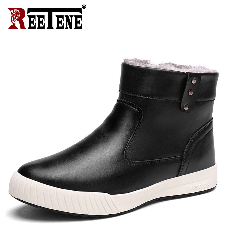 REETENE Fashion Boots Men Lace Up Warm Fur Snow Shoes Men'S Genuine Leather Winter Men Boots Casual Winter Sneakers Shoes Men 2017 the new pixracer and hight quality black pixracer autopilot xracer fmu v4 px4 flight control mini version light