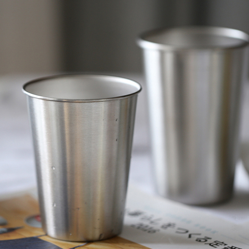 Stainless Steel Pint Cups LargeSmall Durable Kids Cup Metal Tumblers Juice Cocktail Iced Tea Cup Home Bar Camping Drinking Mugs (4)