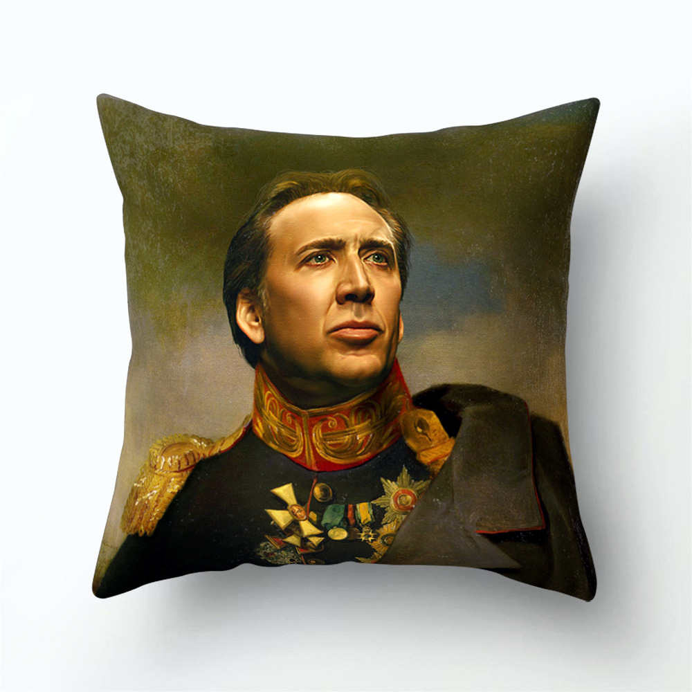 Image 3 - People Portraits Linen Cushion Throw Pillow Covers Sofa Living Room Home Decoration Retro Green Army Jacket Pillowcase 45x45-in Cushion Cover from Home & Garden