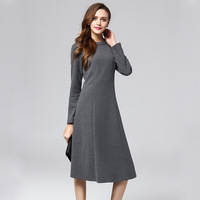 2018 Large Size Simple Temperament Dress Female High Waist Slim Long Sleeve Commuter Autumn And Winter