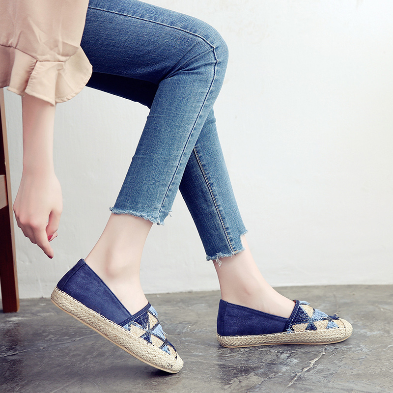 Pailletten Pedal Koreanische In Runde Kopf Den Beige Ein Flachen Neue 2018 Einzelne Leinen Weibliche Version Boden blau Der Schuhe Erhöht ZqwBzxw0