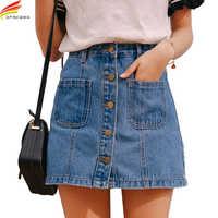 Falda de mezclilla de cintura alta A-line Mini faldas de las mujeres 2019 novedad de verano llegadas un solo botón bolsillos azul Jean Estilo Falda Saia Jeans