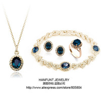 S111 Rose Gold Color Blue Austrian Crystal Jewelry Set With 4 Pcs For Women Party Work