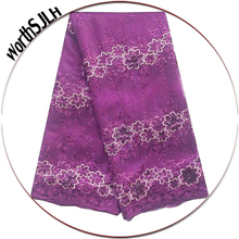 New Magenta Nigerian Lace Fabrics Multi Colored Africa Latest Fabric Peach African Net Tulle For Wedding Dress