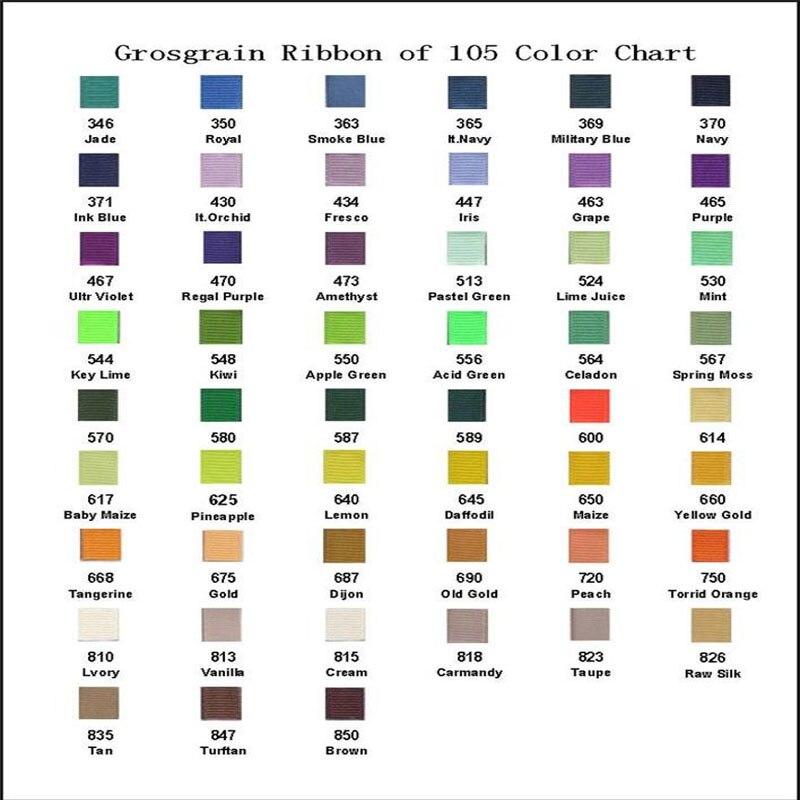 1 Set Blessing Good Girl Grosgrain Ribbon Tpx Color Card 105 Solid