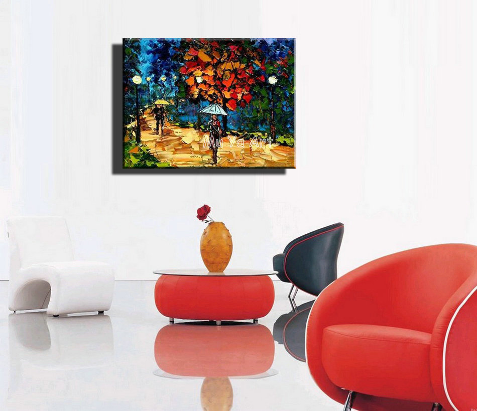Colorful Abstract modern canvas wall art handmade font b Knife b font paint oil painting on