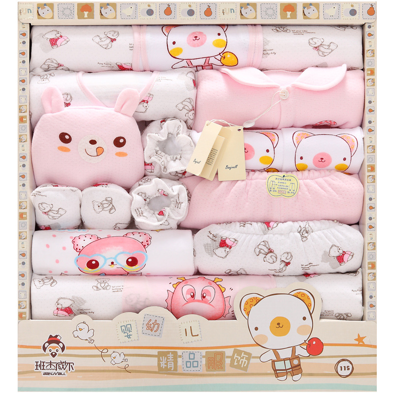 18Pcs/Lot 2017 Newborn Baby Girl Clothes Autumn Happy farm Gift Box Set Thick Cotton Character Baby Boy Clothes