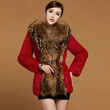 Fashion New Women's fur coat,Raccoon fur collar Rabbit fur coats Ladies rabbit coat fur jackets Free shipping FH008