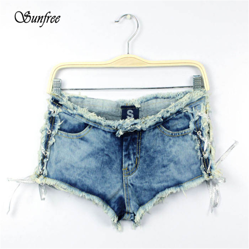 Sunfree 2016 Hot Sale Sexy Women Denim Jeans Shorts Short Hot Pants Low Waist Side Straps Brand New High Quality Dec 7 colorful brand large size jeans xl 5xl 2017 spring and summer new hole jeans nine pants high waist was thin slim pants