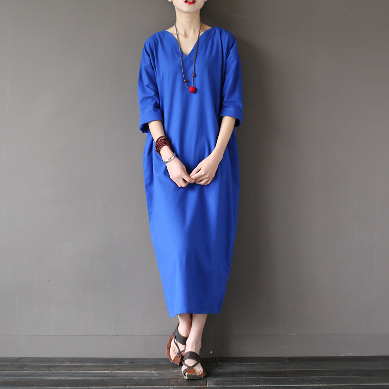 Solid Blue Red Linen Cotton Plus size Women Long Dress Japan Brief Loose Casual Summer Dress