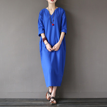 Solid Blue Red Linen Cotton Plus size Women Long Dress Japan Brief Loose Casual Summer Dress Zen Vintage Linen Robe femme A021