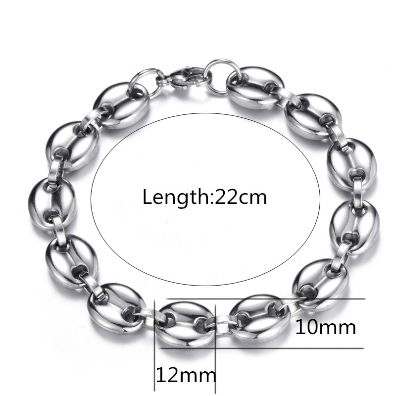 HIP-Hop-Width-11MM-20CM-Stainless-Steel-Gold-Silver-Coffee-Beans-Link-Chain-Bracelets-Chain-316L