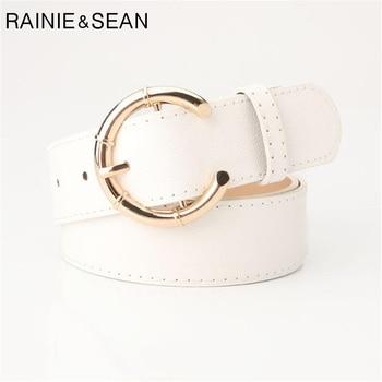 RAINIE SEAN Brand Belt Women White Leather Waist Female Pin Buckle Designer Pu Ladies For Dresses