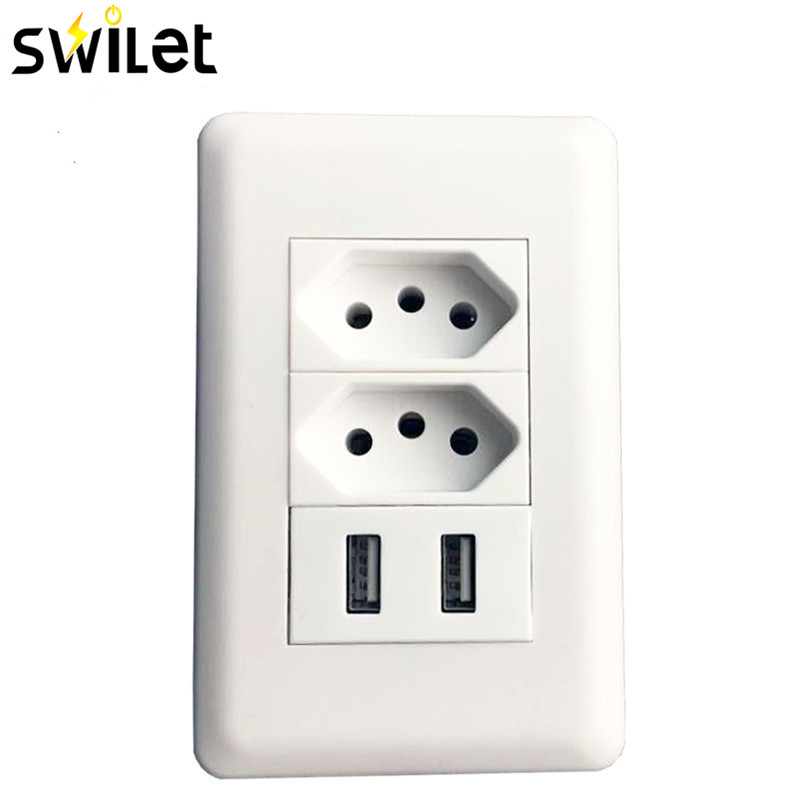 цена на SWILET Wall Power Brazil Socket 15A Brasil Standard Double Soquete 5V 2100mA Dual USB Charger Port 115mmX75mm AC 110~250V