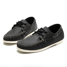 LINGGE Classic 2-eyelet Boat Shoes Full Grain Mens Leather Shoes Flats Men's Boat Shoes Brand Casual Shoes #3832-6