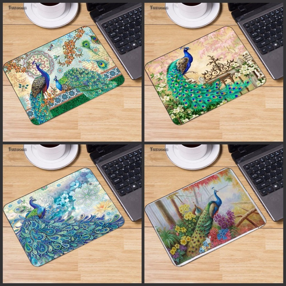 Yuzuoan New Arrivals Peacock feather Large Gaming keyboard Mouse pad PC Computer mat Size for 18x22 Or 25x29cm Small Mousepad