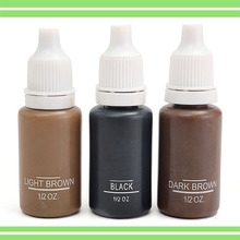 3pcs 15ML Tattoo Ink 3 Colors Permanent Makeup Manual Tattooing Paint Pigments For Eyebrow Eyeliner Lip Cosmetic Tools