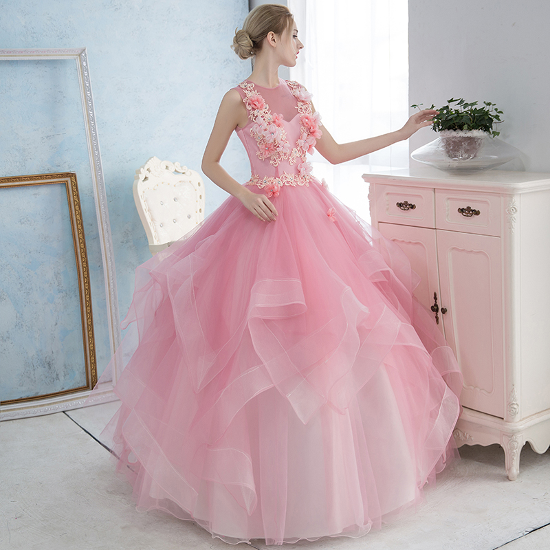light pink ruffled flower bead ball gown princess medieval dress Renaissance Gown queen Victoria/Antoinette/ball gown/Belle Ball