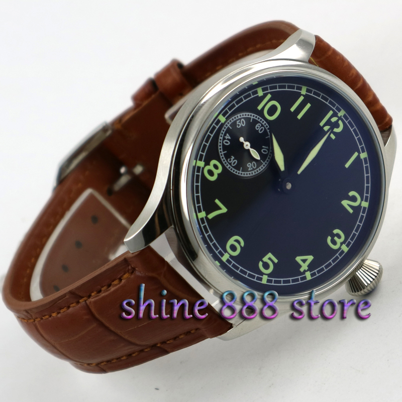 44mm parnis black dial Brown strap ST 3600 hand winding 6497 mechanical mens watch