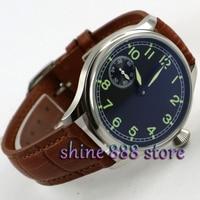 44mm parnis black dial Brown strap ST 3600 hand winding 6497 mechanical mens watch|watch men|watch men mechanicalwatch men watch -