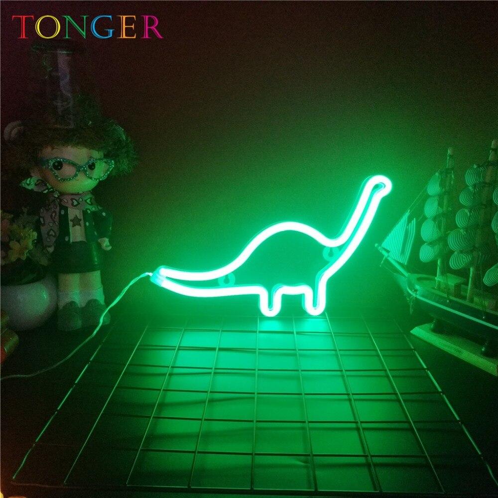 TONGER Neon Sign Cahaya dinosaurus Bentuk Desain Kopi Bar Mural Dinding Ruang Dekorasi Rumah Cinta Ornamen Kerajinan Dekorasi Rumah Lampu
